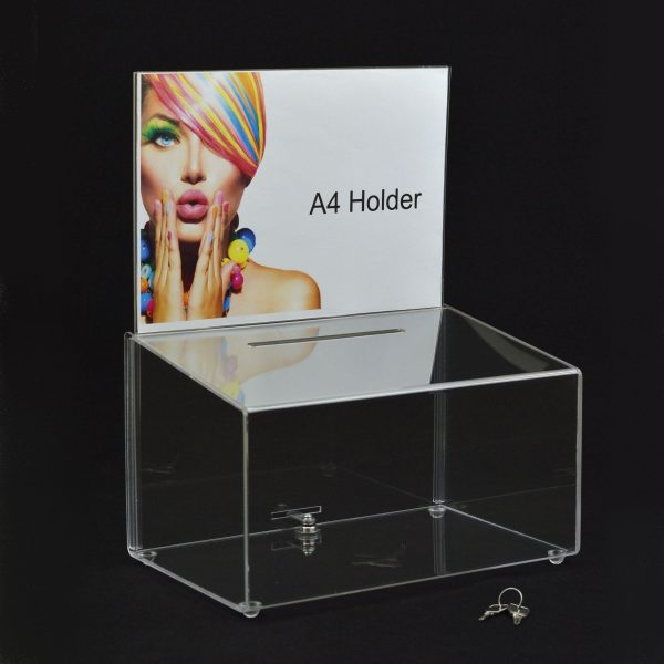 Medium Lockable Ballot Comments Collection Suggestion Box Clear Acrylic