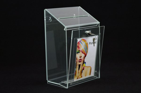 Lockable Collection Box / Suggestion Box with A5 Poster Holder Clear