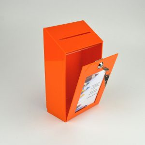 Small Lockable Ideas Collection Suggestion Box Orange