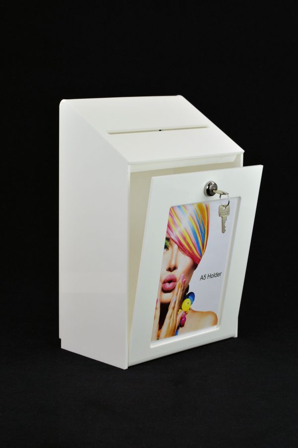 Lockable Collection Box / Suggestion Box with A5 Poster Holder White