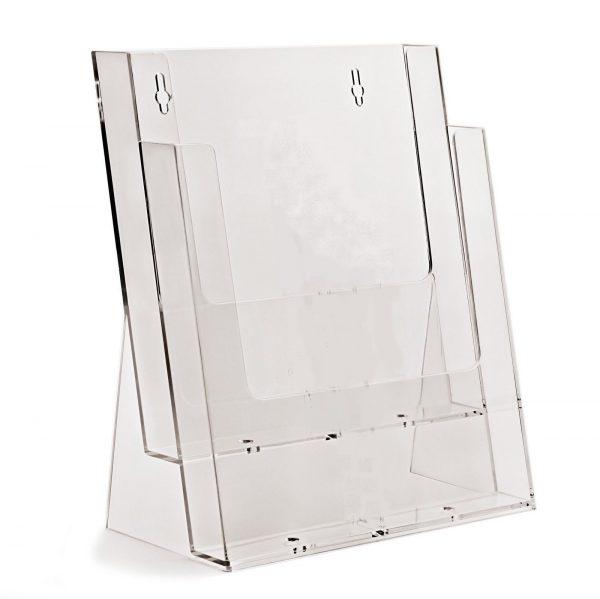 2 Tier Leaflet / Brochure Dispenser / Holder Clear Plastic