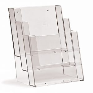 3 Tier Leaflet / Brochure Dispenser / Holder Clear Plastic