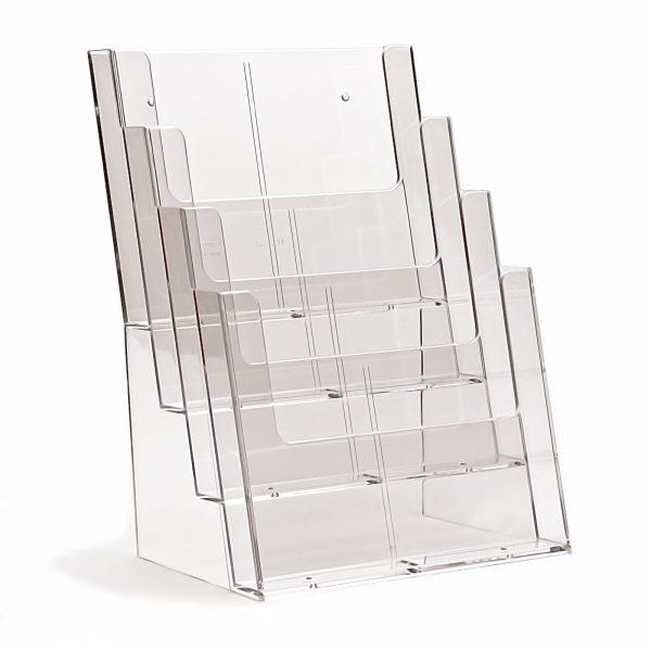 4 Tier Leaflet / Brochure Dispenser / Holder Clear Plastic