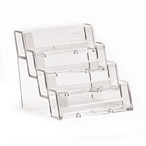 Landscape Free standing 4 tier Business Card Holder Clear Plastic