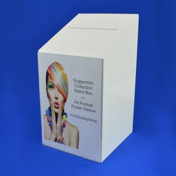 Large Ballot / Collection / Suggestion Box White Perspex