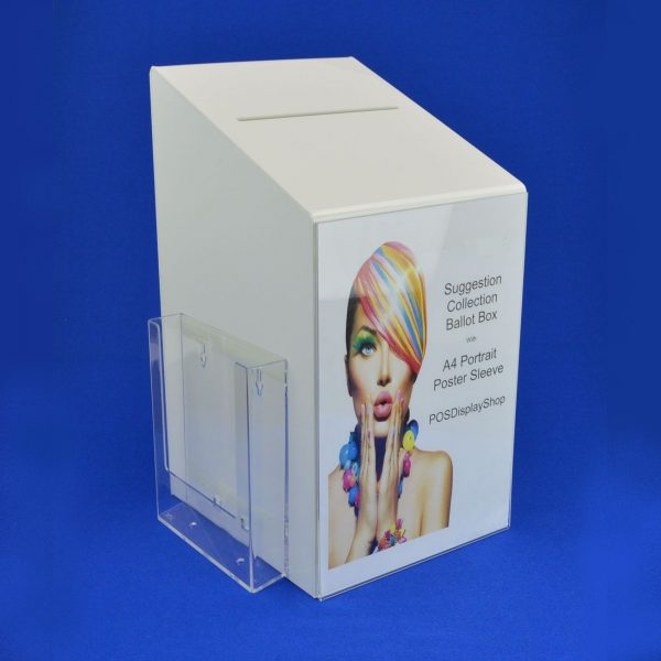 Large Collection / Suggestion Box with A5 Holder White Acrylic