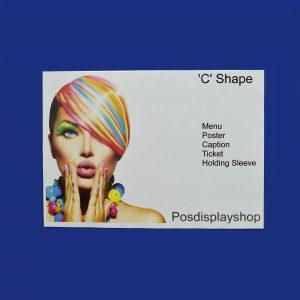 Landscape Clear PVC 'C' Shape Menu / Poster Holder