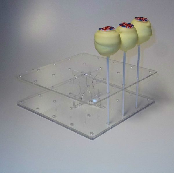 Cake Pop Stand - Square Shaped Clear Acrylic - Holds 24