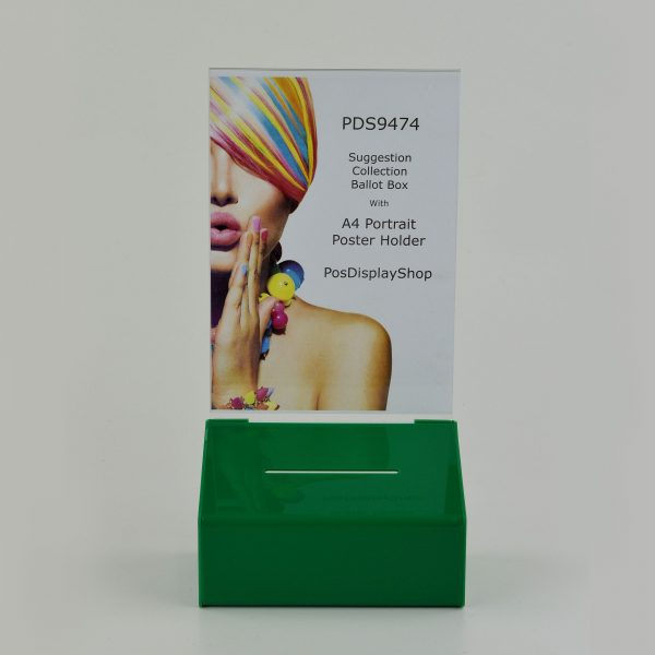 Collection / Suggestion Box with A4 Portrait Poster Holder Dark Green