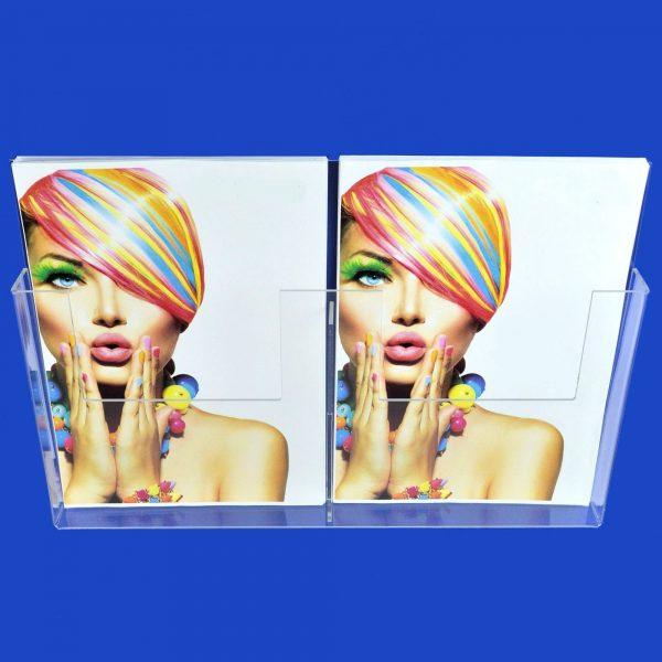 Double A4 Menu / Leaflet Holder / Brochure Dispenser Clear Acrylic