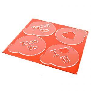 Valentines Marry / Love Heart Cappuccino Stencil