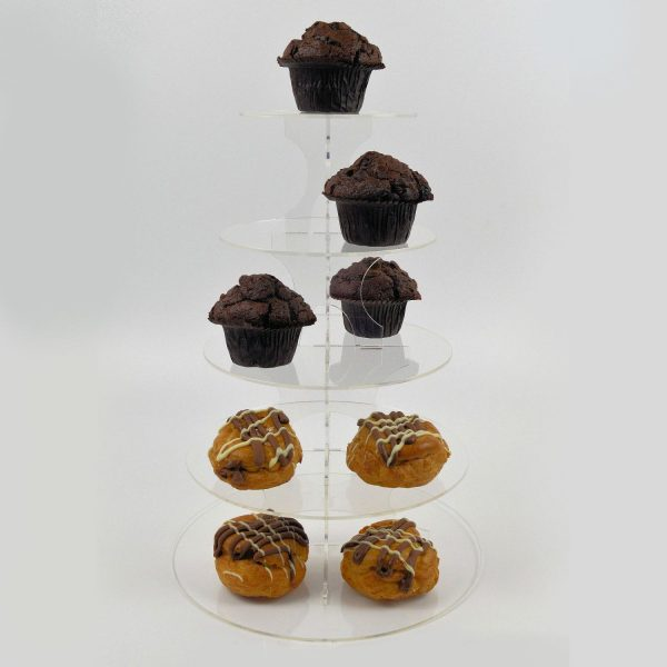 5 Tier Round Cup Cake Muffin Afternoon Tea Cake Stand Clear Acrylic