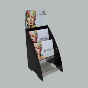 A6 Landscape Black 3 Tier Postcard / Leaflet Holder / Dispenser