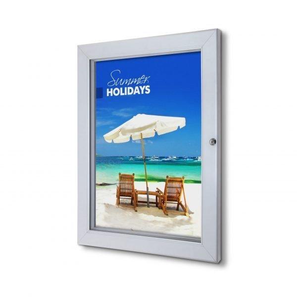 Indoor Lockable Poster Case Silver